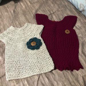 2 hand crochet sweaters.